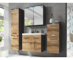 Conjunto de baño CLEMENCE con LEDs - Muebles lacados- Acabado de madera