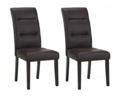 Lote de 2 sillas TADDEO - Piel reconstituida chocolate - Patas de madera