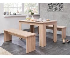 Conjunto de mesa + 2 bancos DIGORY - 6 cubiertos - Color roble