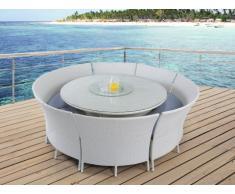 Comedor de jardín RIO GRANDE de resina trenzada blanca: 1 mesa, 2 bancos y 4 sillones