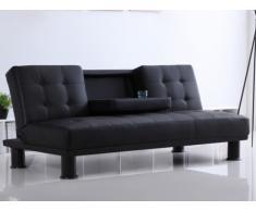 Sofá cama clic-clac de piel sintética DANIEL con respaldo central abatible - Negro