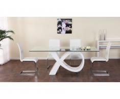 Mesa de comedor ETREINTE - 8 comensales - MDF & cristal templado - Blanco