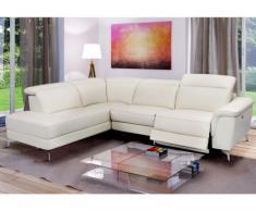 Sofá rinconero relax eléctrico de piel OLBIA - Blanco - Ángulo izquierdo