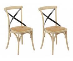 Conjunto de 2 sillas EFIA - Madera y asiento de mimbre - Natural y metal