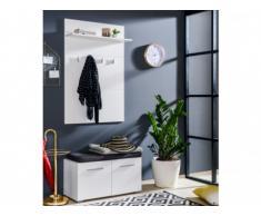 Mueble de entrada LEONEL - 2 puertas y 1 estantería - MDF - Blanco