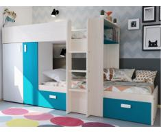 Cama litera JULIEN - 2x90x190 cm - Armario integrado - Pino blanco y azul