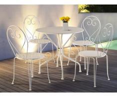 Comedor de jardín de hierro forjado GUERMANTES: mesa + 4 sillas - Blanco