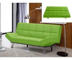 Sofá cama clic-clac de piel sintética ESPOO - Verde