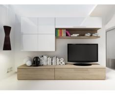 Mueble TV mural MAKASAR con espacios de almacenaje - Lacado blanco y roble