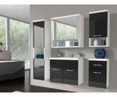 Conjunto de baño LUISA - Muebles + espejo + lavabo - Lacado negro