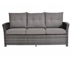 Sofá de 3 plazas + 2 taburetes SANTAREM resina trenzada antracita - Asiento gris