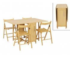 Conjunto mesa plegable + 4 sillas EMELINE - Haya maciza - Color natural
