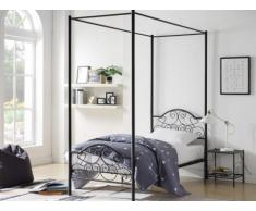 Cama con dosel LEYNA - 90x190cm - Metal - Negro