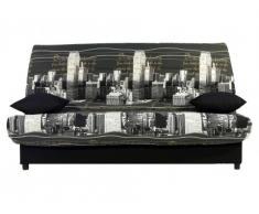 Sofá cama clic-clac de tela SALOON con baúl de almacenaje - Estampado NEW YORK