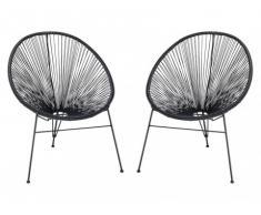 Conjunto de 2 sillas de jardín ALIOS II de fibras de resina trenzada - Negro