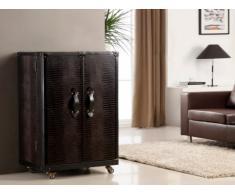 Mueble bar baúl LORIC - 2 puertas - Piel sintética chocolate efecto cocodrilo