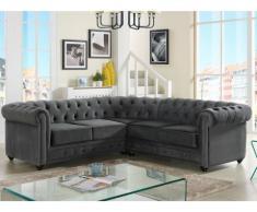Sofá rinconero tapizado de terciopelo CHESTERFIELD - Gris antracita
