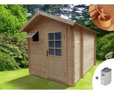Sauna de uso exterior 3/4 plazas HELSINKI II - 2 piezas + calefactor HARVIA 6kW + kit de accesorios