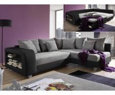 Sofá cama rinconero de tela y piel sintética KUOPIO - Gris/negro - Ángulo derecho