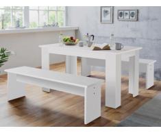 Conjunto de mesa + 2 bancos DIGORY - 6 cubiertos - Color blanco
