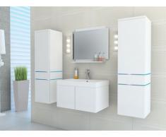 Conjunto de baño NAOMI con leds - Muebles + lavabo + espejo - Lacado blanco