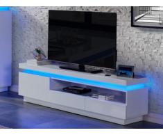 Mueble TV EMERSON - 1 puerta & 2 cajones - LEDs - MDF lacado blanco