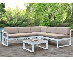 Conjunto de jardín PALAOS - Mesa de centro y sofá rinconero con asiento elevable de 6 plazas - Topo