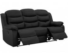 Sofá 3 plazas relax de piel de búfalo PLITON - Negro