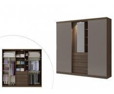 Armario BODIL - puertas correderas - Espejo y cajones - L.240cm - Chocolate y marrón topo