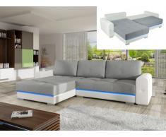 Sofá cama rinconero tapizado de tela y piel sintética KEREN con leds - Gris y blanco - Ángulo izquierdo