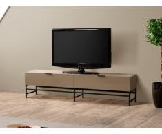 Mueble TV ANTHELO - 2 cajones - Metal & MDF lacado - Color moka