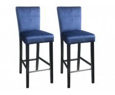 Lote de 2 taburetes de bar GIDEON - Terciopelo y patas de madera - Azul