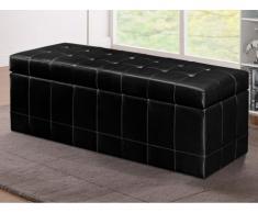 Banco cofre de piel sintética con espacio de almacenamiento WAGNER II- Negro