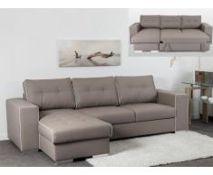 Sofá cama rinconero de piel sintética TENERIFE - Ángulo reversible - Topo ribete blanco