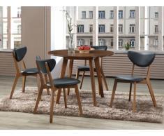 Pack salón comedor: Conjunto de mesa + 4 sillas LISETTE - Nogal y negro