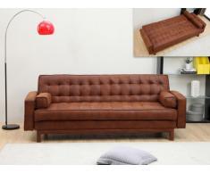 Sofá cama clic-clac de microfibra ELEANOR - Chocolate efecto vintage
