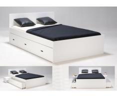 Estructura de cama con 2 cajones y 2 mesas de noche PACOME - 140x190cm - Lacado blanco