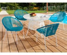 Conjunto de jardín KELIOS de resina trenzada - Mesa blanca + 4 sillones turquesa