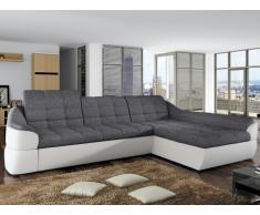Sofá cama rinconero tapizado de tela y piel sintética FAREZ - Bicolor gris y blanco - Ángulo derecho
