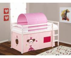 Cama alta KATE con cortinas y túnel color rosa - 90x190cm - Pino macizo - Blanqueado
