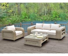 Conjunto de jardín KUOPIO de resina trenzada beige: sofá, 1 sillón y mesa de centro