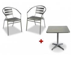Comedor de jardín de aluminio MONTMARTRE: una mesa cuadrada pequeña y 2 sillas