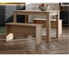 Conjunto de mesa + 2 bancos BASTIEN - Color roble