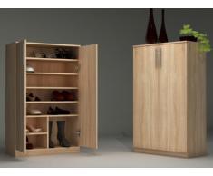 Mueble zapatero MATHIAS - Color roble - 2 puertas