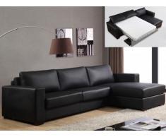 Sofá cama rinconero reversible de piel sintética TEMUCO II - Negro