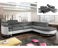 Sofá cama rinconero tapizado de tela y piel sintética MYSEN - Blanco y gris - ángulo derecho