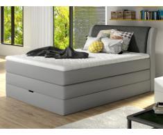 Conjunto boxspring de cabecero + somier abatible + colchón + cubre colchón GRANDIOSE de DREAMEA - Tela gris - 140x200cm
