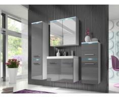 Conjunto de baño CLEMENCE con LEDs - Muebles lacados- color gris