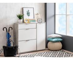 Mueble zapatero ARIETTA - 2 compartimentos , 1 puerta y 1 cajón - Color blanco y cemento