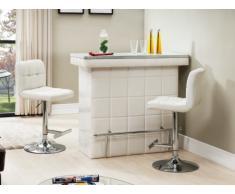 Mueble bar CARDY - Piel sintética y cristal templado - Blanco